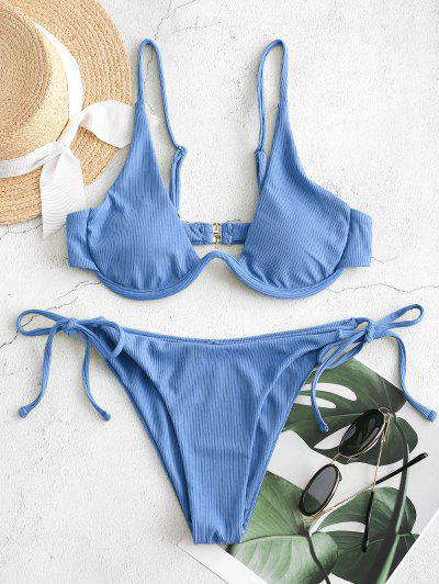 ZAFUL Tie Side Underwire Ribbed Bikini Swimsuit - Silk Blue M