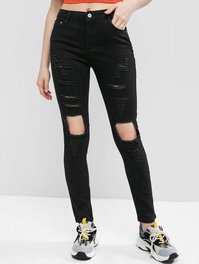 Jeans Ajustados Altura Media - Negro S