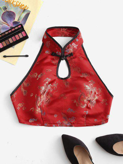 Dragon Peacock Feather Jacquard Oriental Keyhole Tank Top - Red S