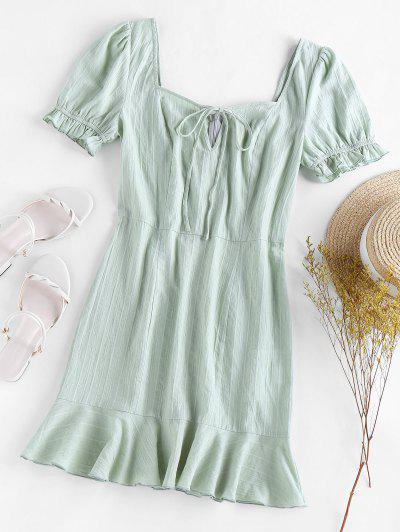 ZAFUL Flounce Puff Sleeve Mini Dress - Light Green M
