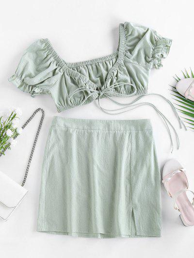 ZAFUL Vestido De Dos Piezas Con Lazo Delantero De Algodón - Verde S