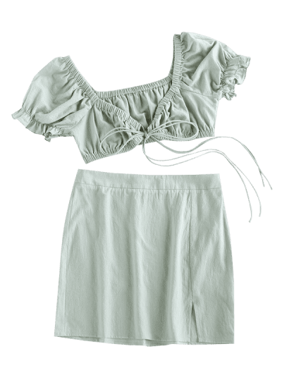 ZAFUL Tie Front Cotton Two Piece Dress