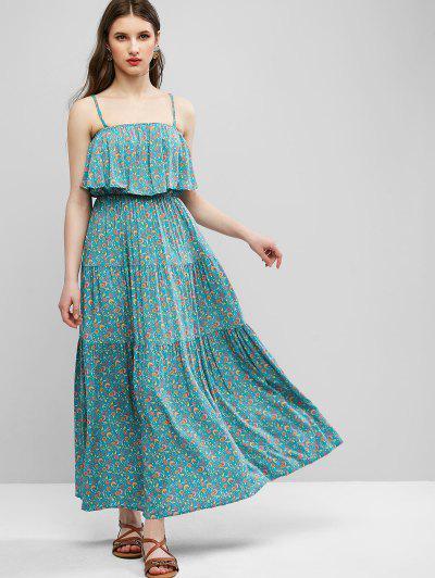 Ditsy Floral Cami Flounce Bohemian Dress - Green S