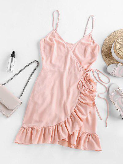 ZAFUL Ruffled Side Tie Mini Wrap Dress - Rose L