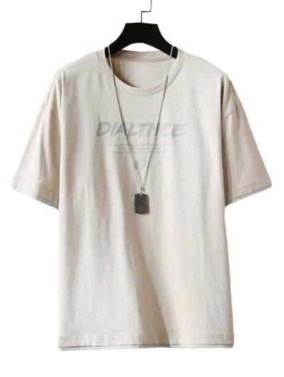 Letter Print Short Sleeve T-shirt - Light Gray 2xl