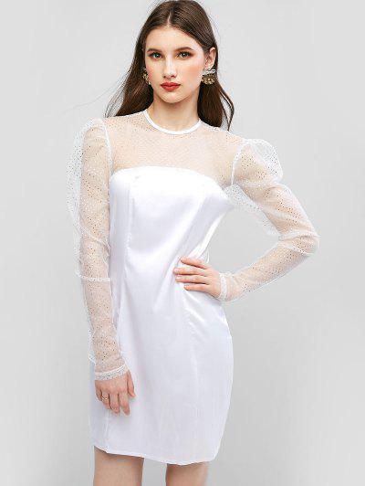 Foil Dot Gigot Sleeve Mesh Yoke Sheath Dress - White M