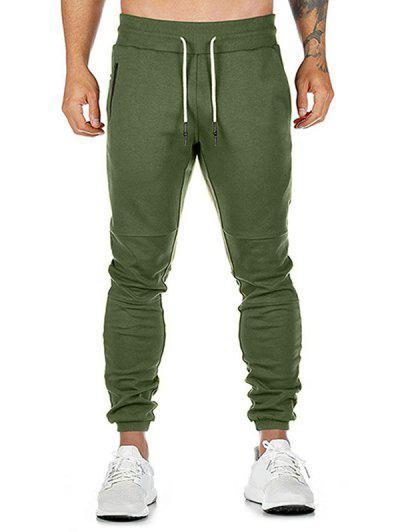 Plain Zip Pockets Drawstring Jogger Pants - Green 2xl