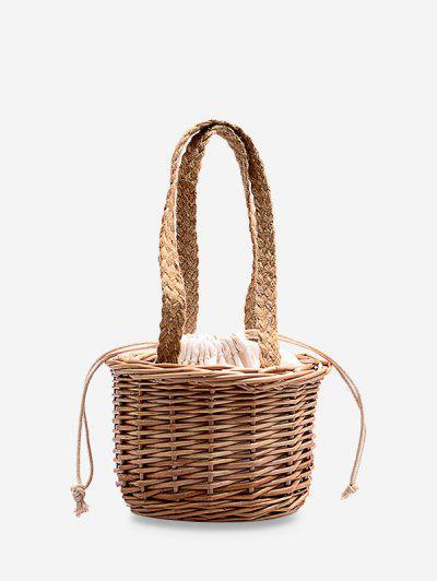 Hand-held Braided Bucket Bag - Wood