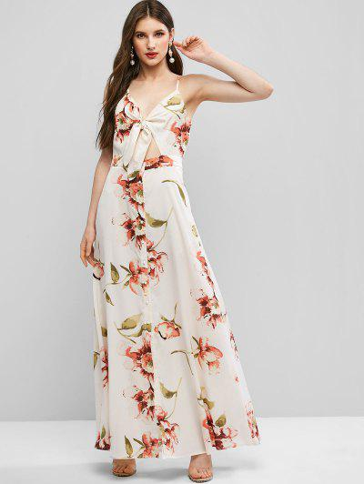 ZAFUL Tie Front Button Up Floral Maxi Dress - Warm White L