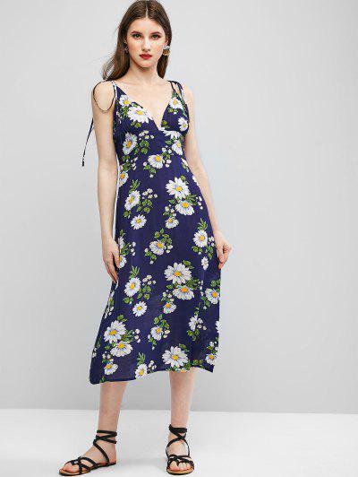 ZAFUL Cami Tie Shoulder Floral Midi Dress - Dark Slate Blue L