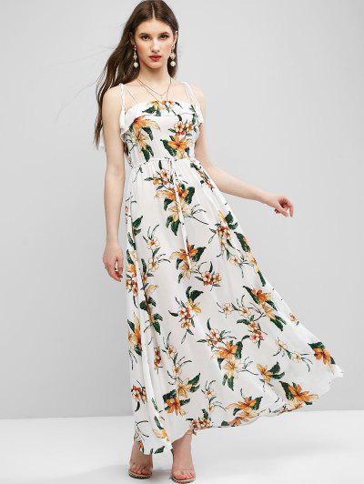 ZAFUL Tie Shoulder Floral Tassels Maxi Dress - Milk White L