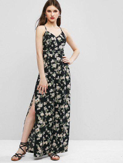 ZAFUL Cami High Slit Floral Criss Cross Jumpsuit - Black S