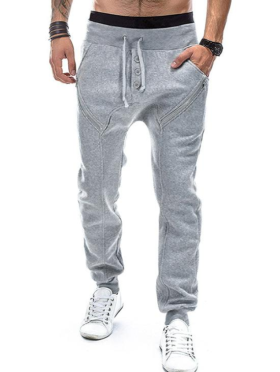 Solid Color Mock Button Casual Drawstring Jogger Pants thumbnail