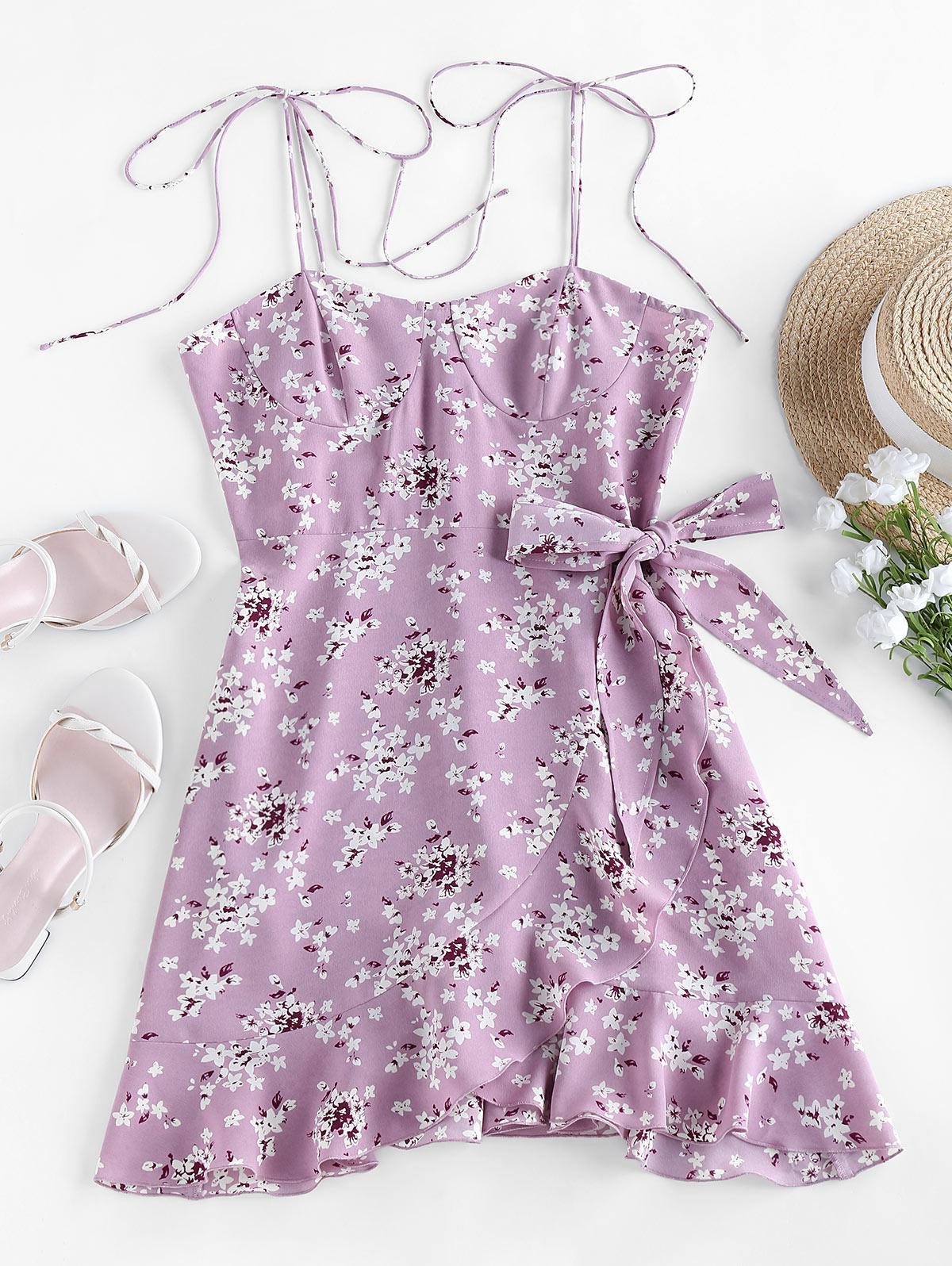 Tiny Flower Belted Ruffled Hem Mini Cami Dress