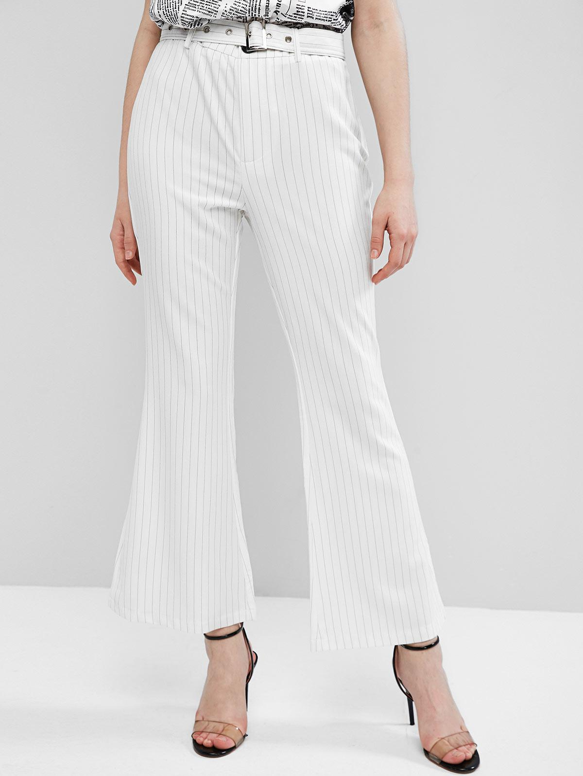 ZAFUL Striped Belted Pocket Boot Cut Pants