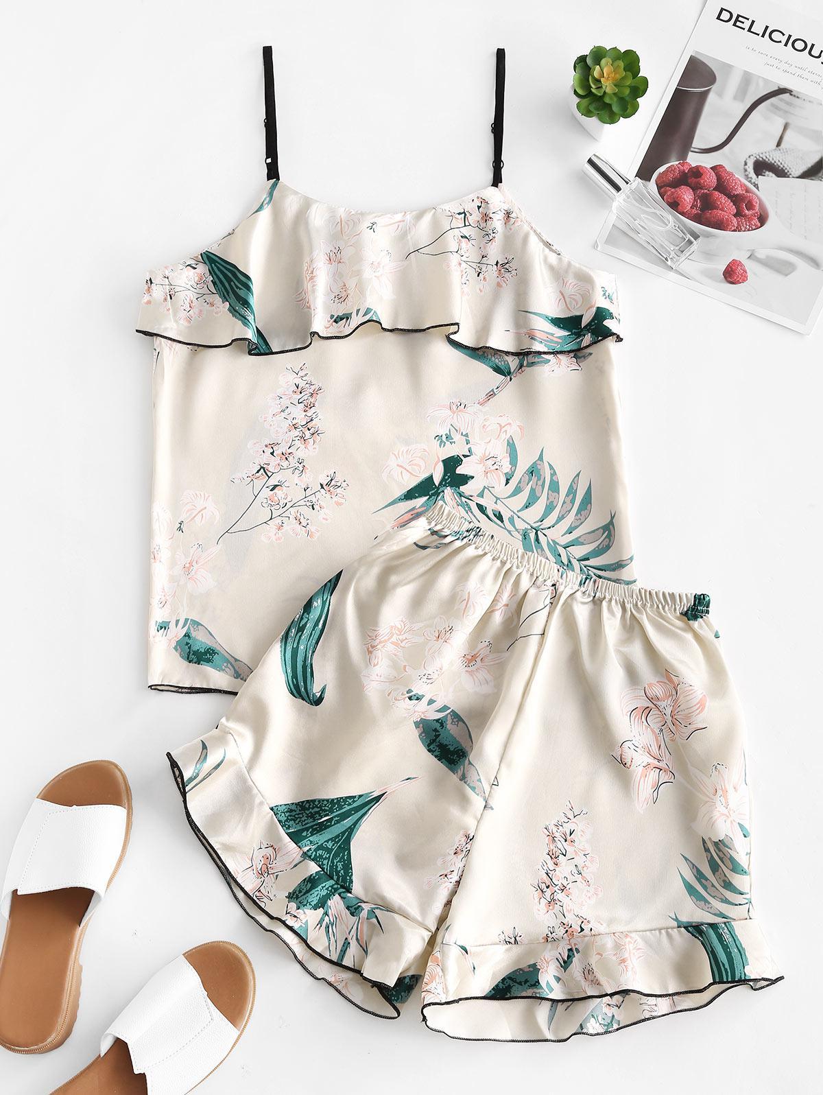 Floral Satin Ruffles Pajama Set