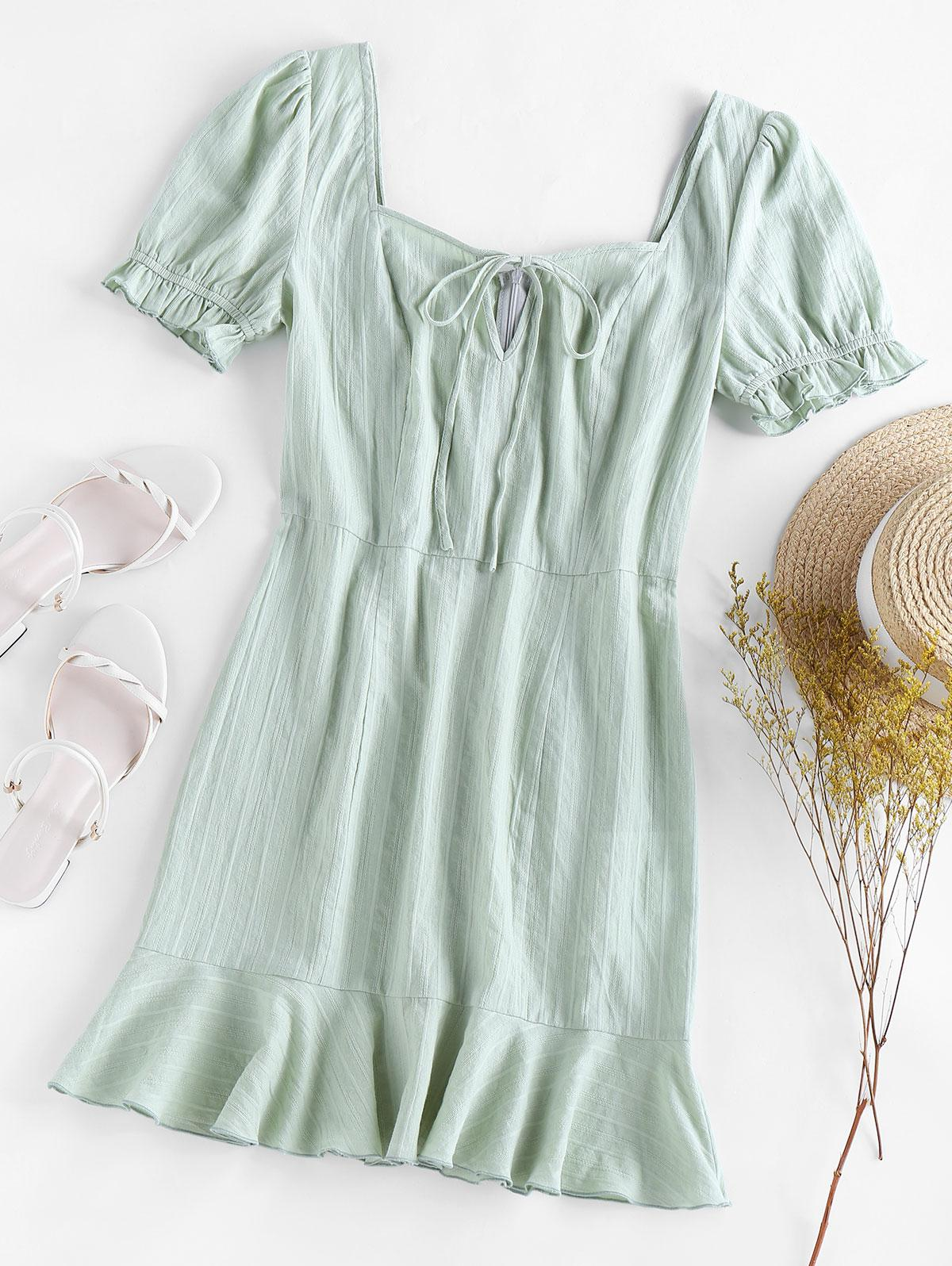 ZAFUL Flounce Puff Sleeve Mini Dress