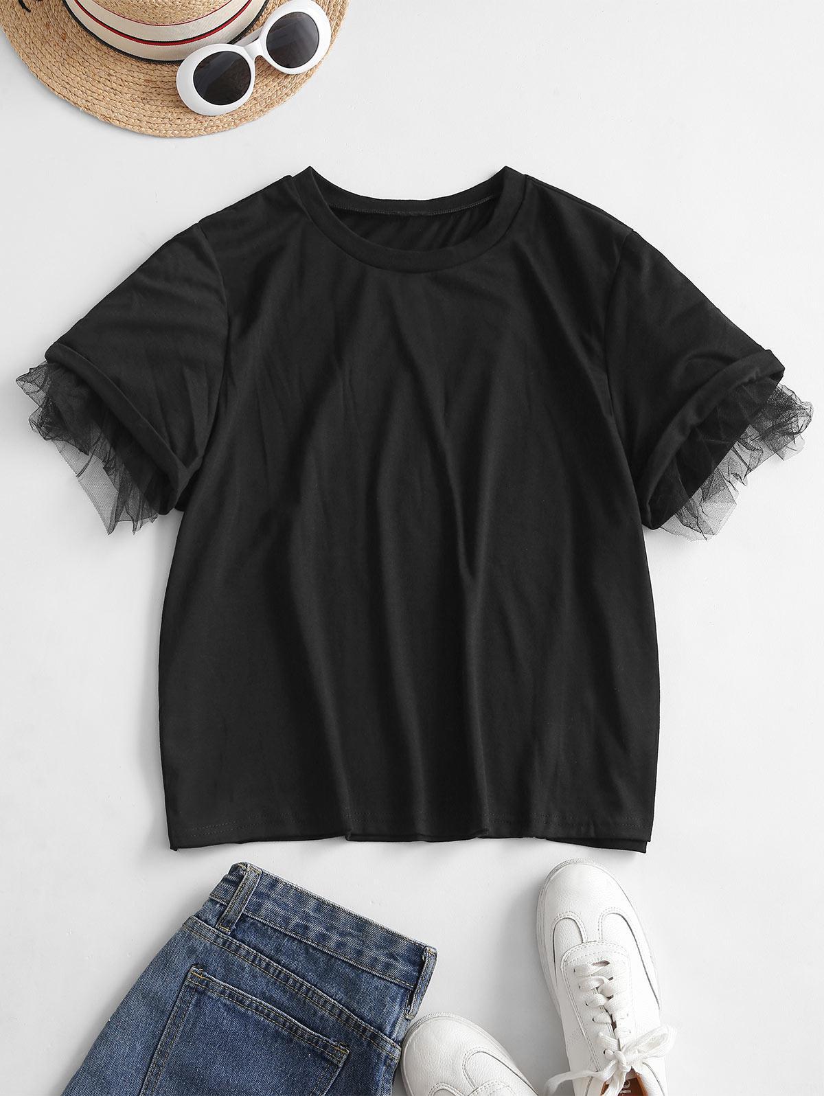 Lace Insert Tunic T-shirt