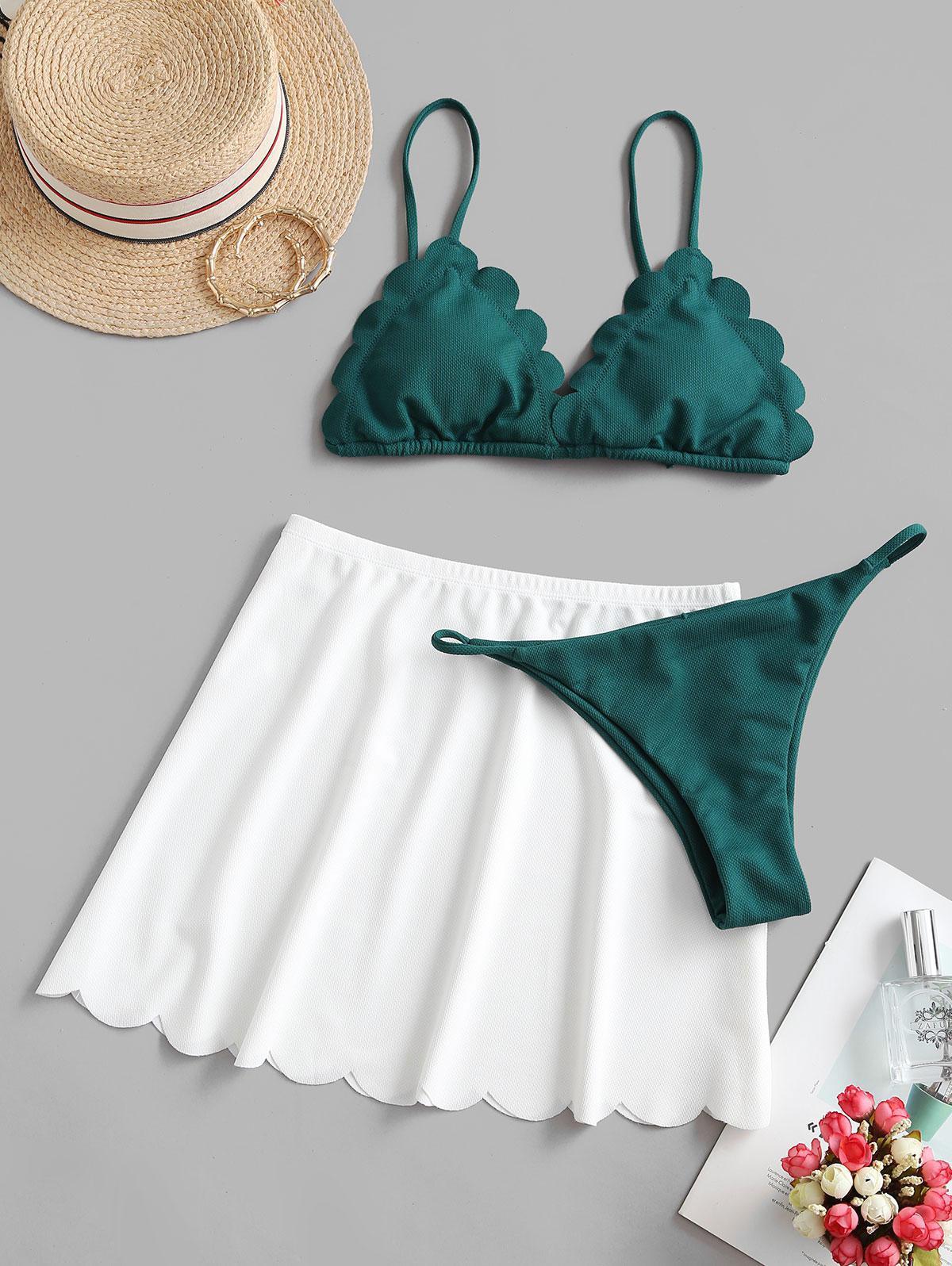 ZAFUL Textured Scalloped String Bikini Swimwear with Skirt