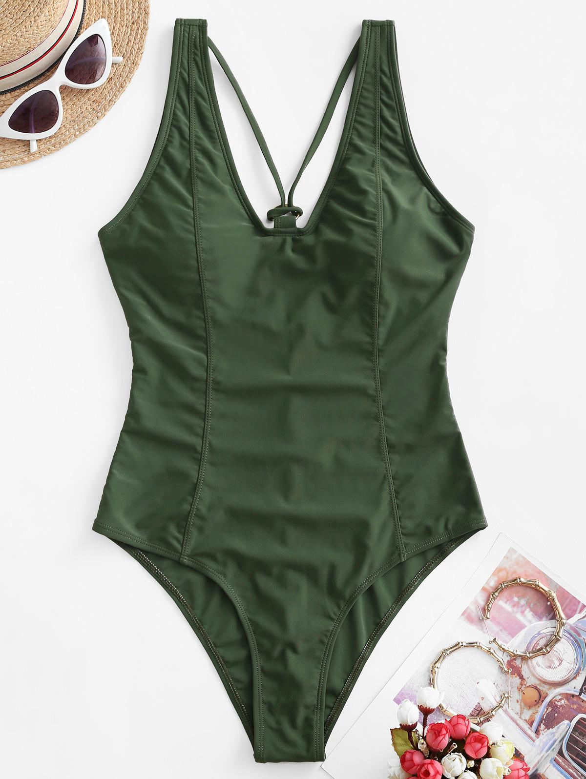 ZAFUL Princess Seam Strappy Ring Linked One-piece Swimsuit thumbnail