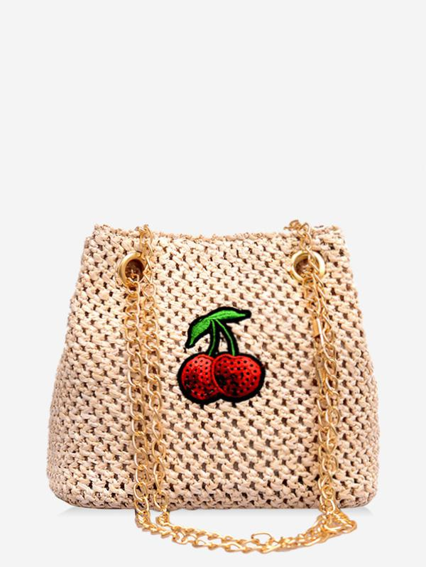 Cherry Pattern Chain Straw Braid Bag