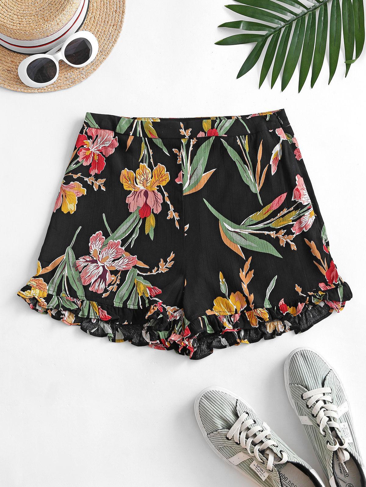 Floral Print Ruffle Pocket Wide Leg Shorts