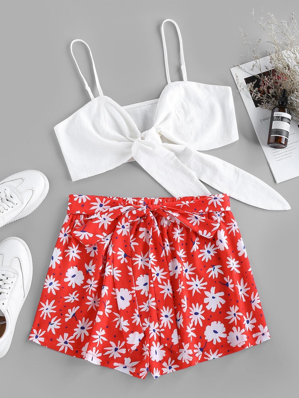 ZAFUL Tied Flower Print Belted Shorts Set