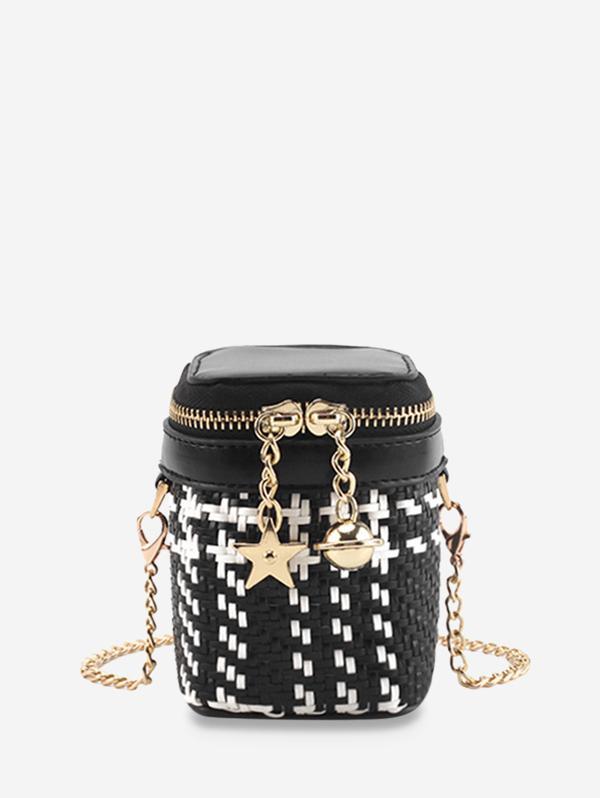 Star and Bell Pendant Weave Crossbody Bag