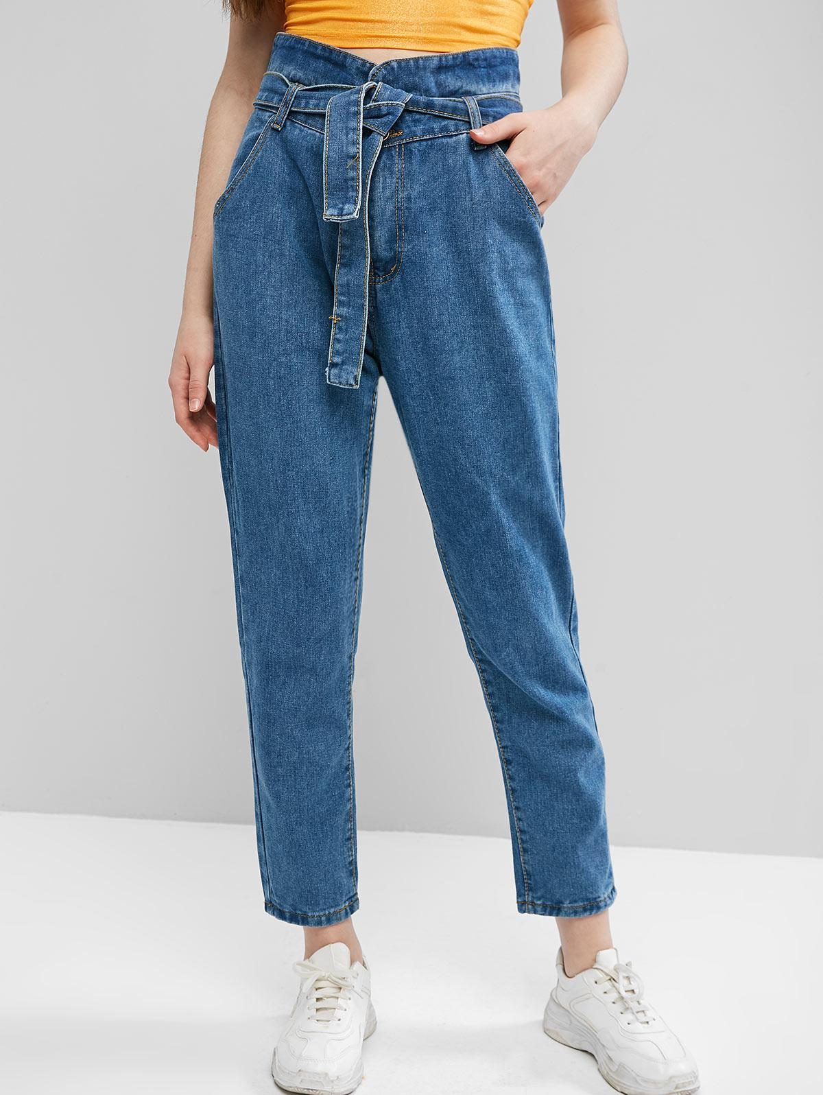 High Waisted Belted Tapered Jeans