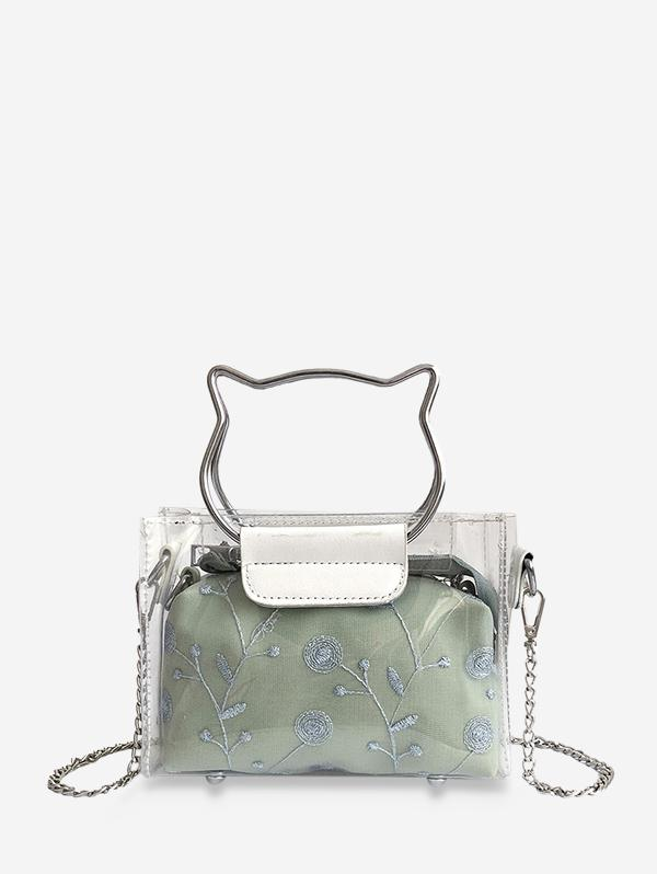 2 In 1 Transparent Vinyl Floral Mini Crossbody Bag