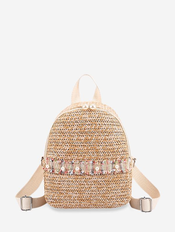 Faux Pearl Embellished Straw Small Backpack