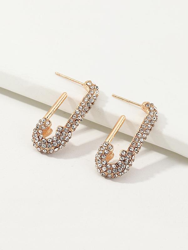 Full Rhinestone Pin Dangle Earrings thumbnail