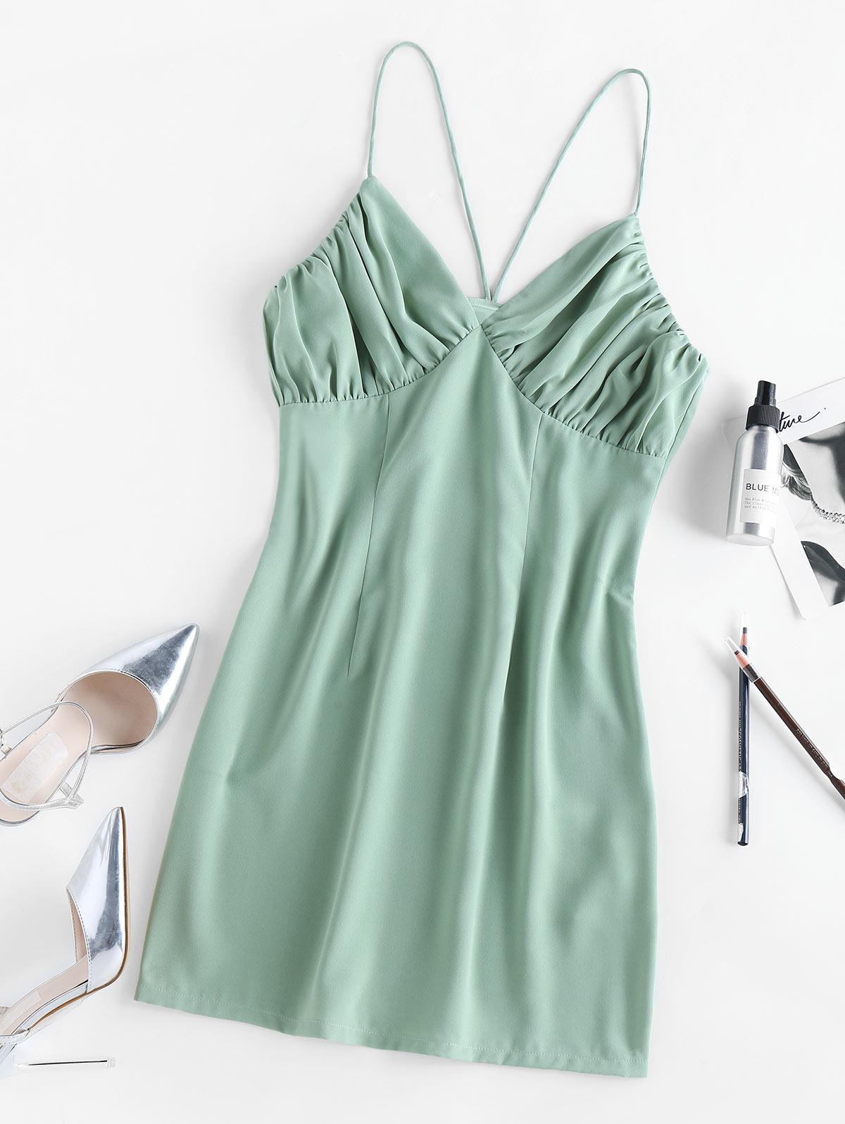 ZAFUL Ruched Mini A Line Dress