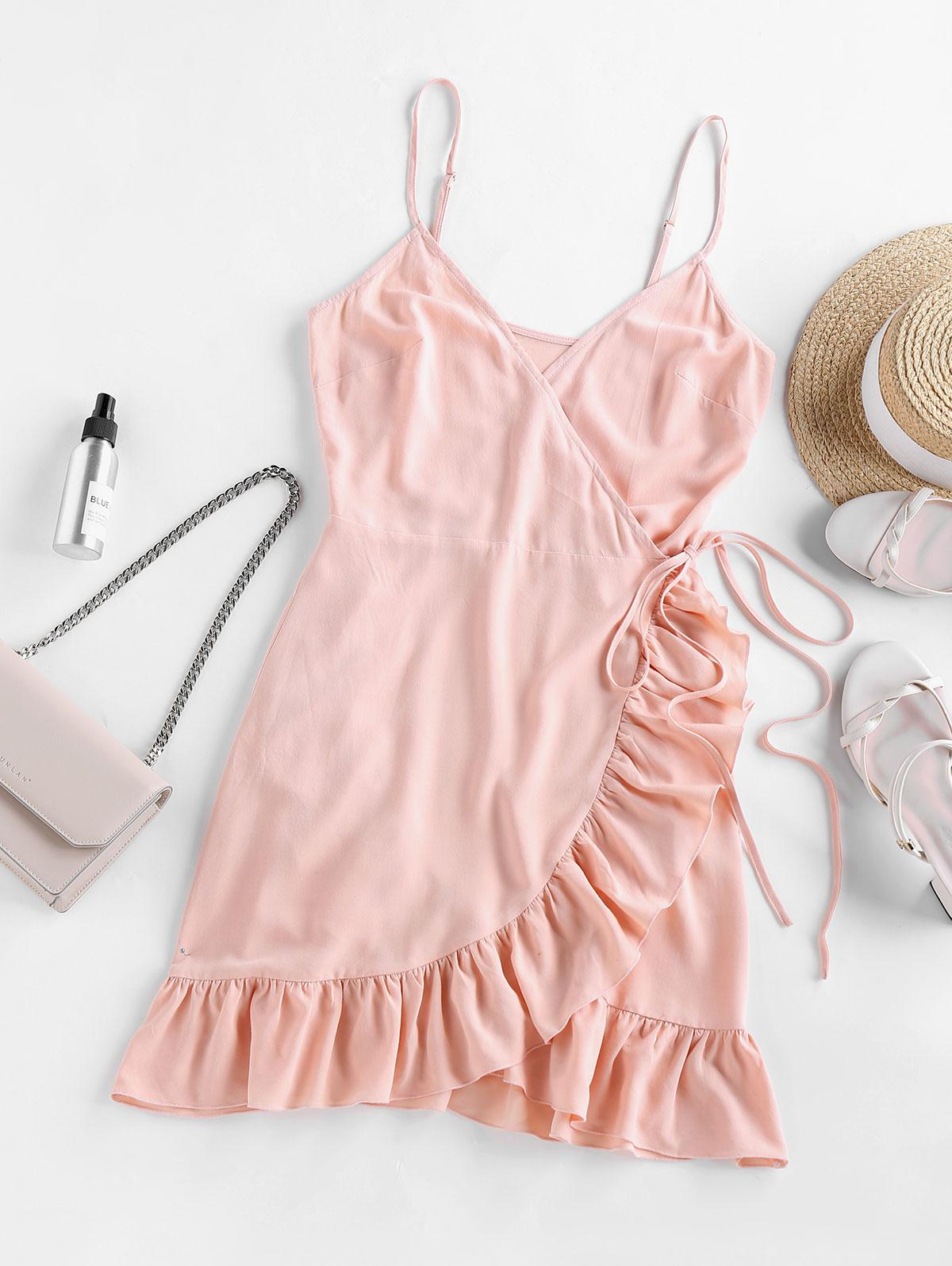 ZAFUL Ruffled Side Tie Mini Wrap Dress