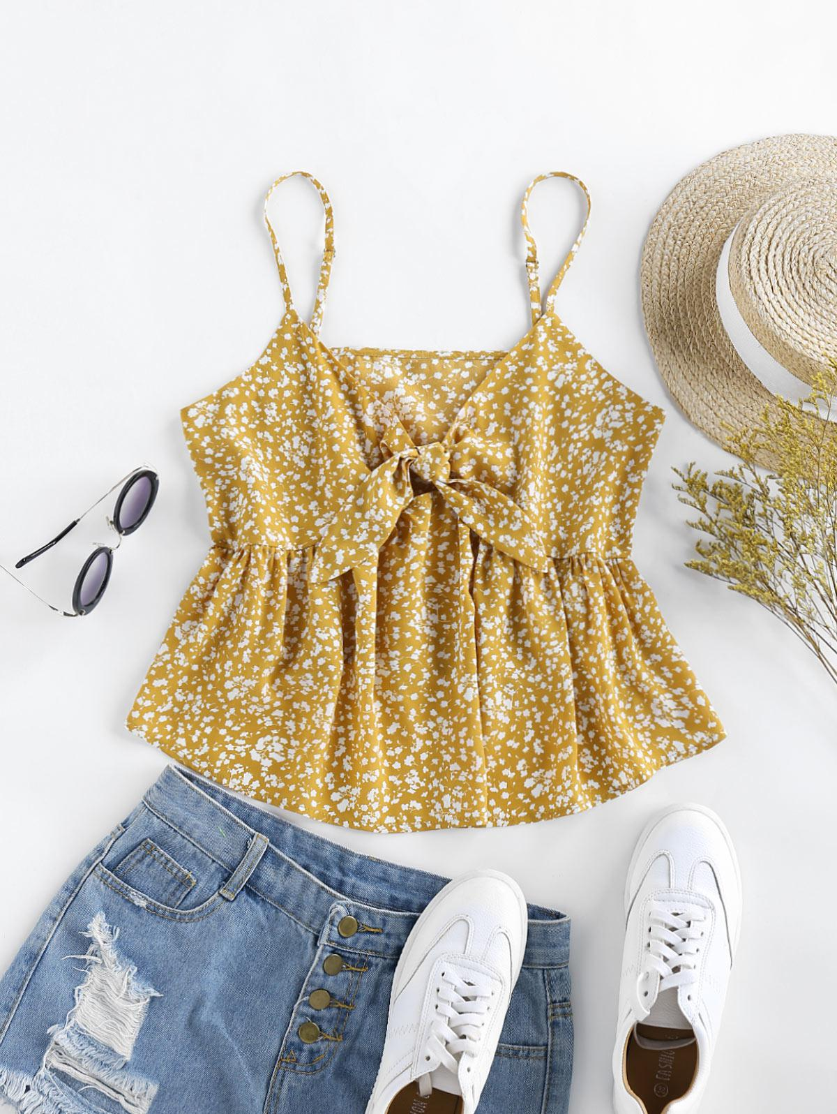 ZAFUL Tiny Floral Flounced Front Tie Tank Top