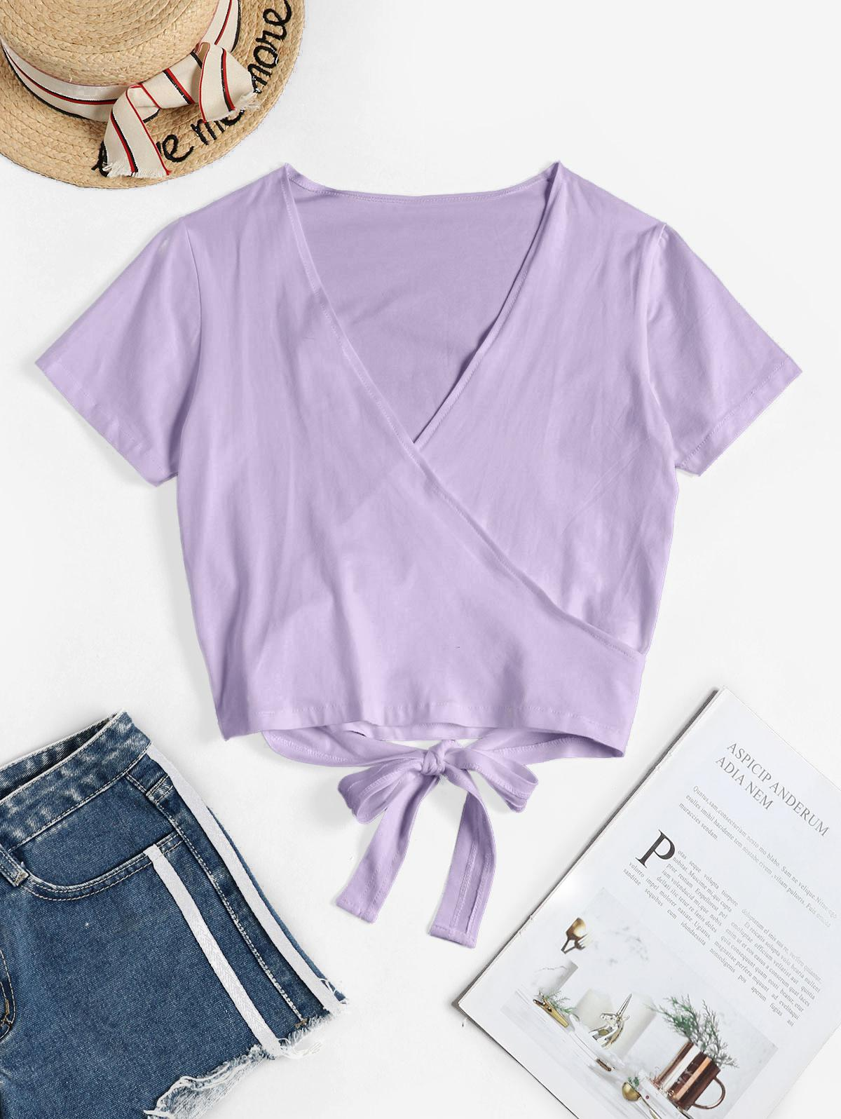 V Neck Crop Wrap Tee