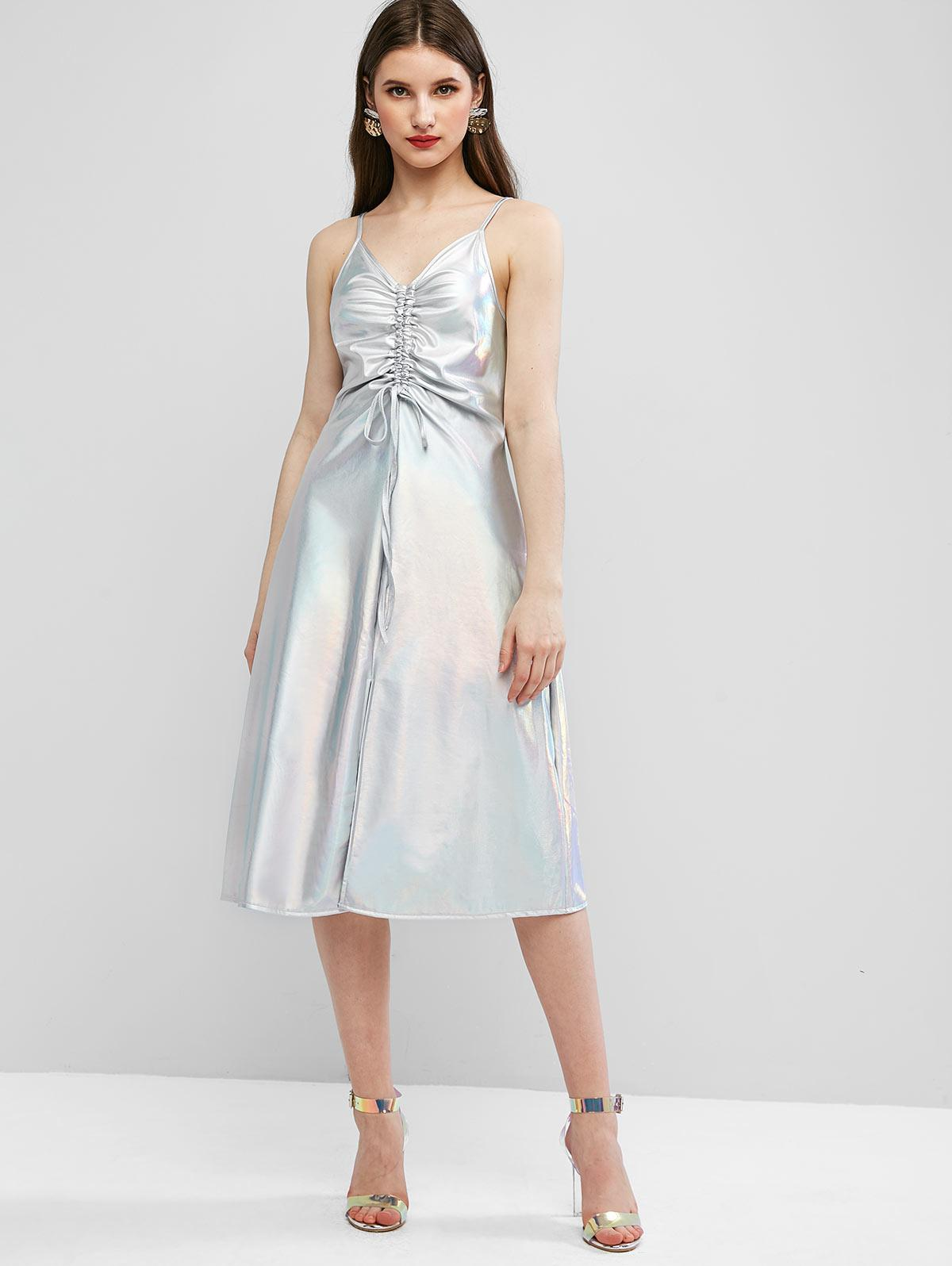 ZAFUL Sparkle Shiny Cinched Front Slit Cami Dress thumbnail
