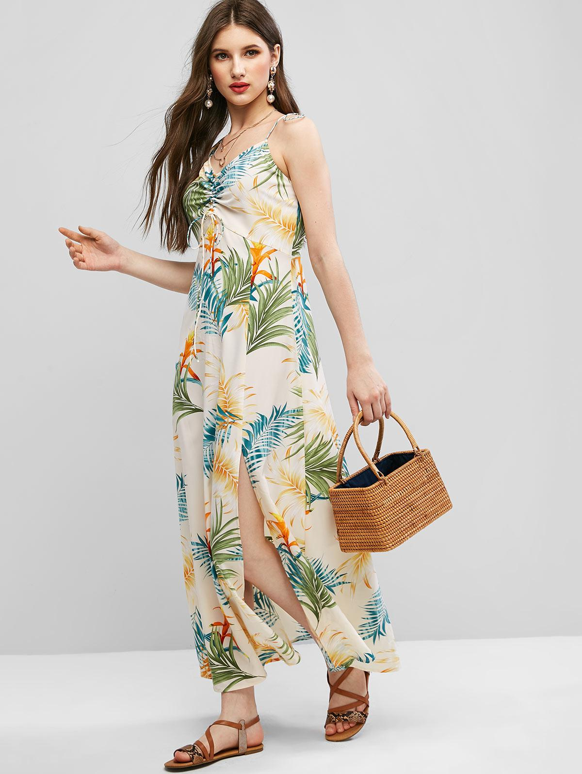 ZAFUL Tie Shoulder Cinched Floral Leaves Print Dress