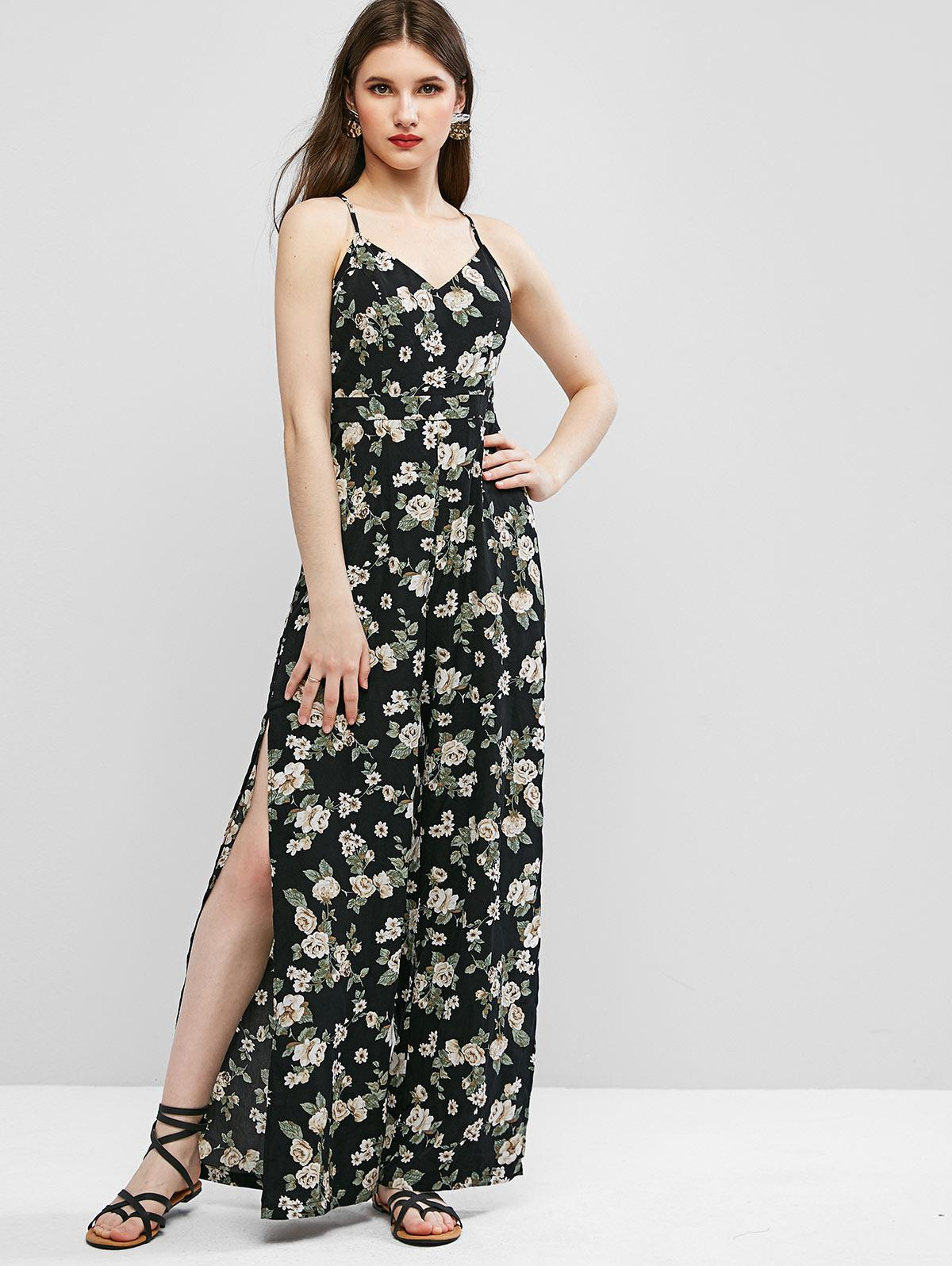 ZAFUL Cami High Slit Floral Criss Cross Jumpsuit