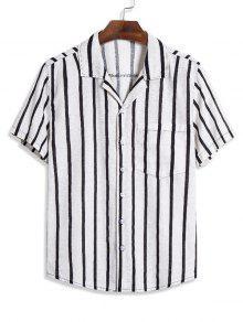 Striped Pocket Short Sleeve Linen Shirt