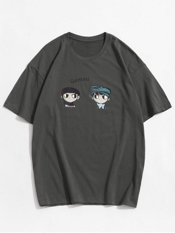 Gemini Cartoon Pattern Short Sleeves T-shirt - الرمادي الداكن 2XL