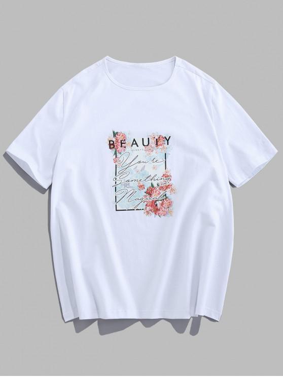 ZAFUL T-shirt Décontracté Fleur et Lettre Imprimés - Blanc 2XL