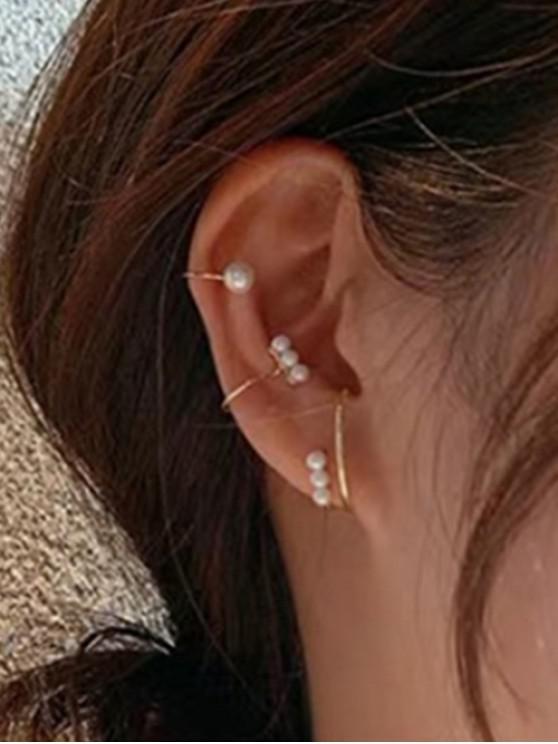 Conjunto de Pendientes de Perla Artificial de 3 Piezas - Oro