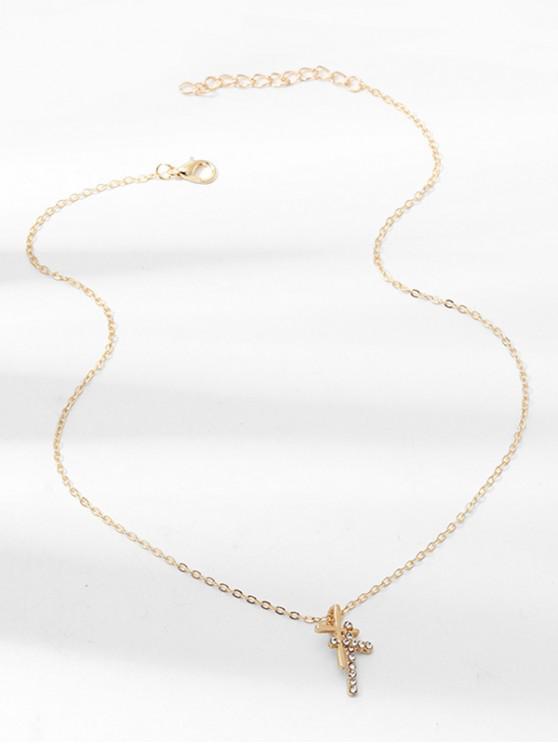 Collar Pendiente del Rhinestone de La Cruz - Oro