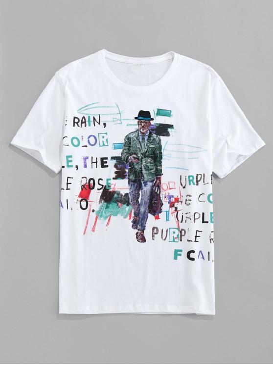 Männer Buchstabe Grafik Grundlegendes T-Shirt - Weiß L