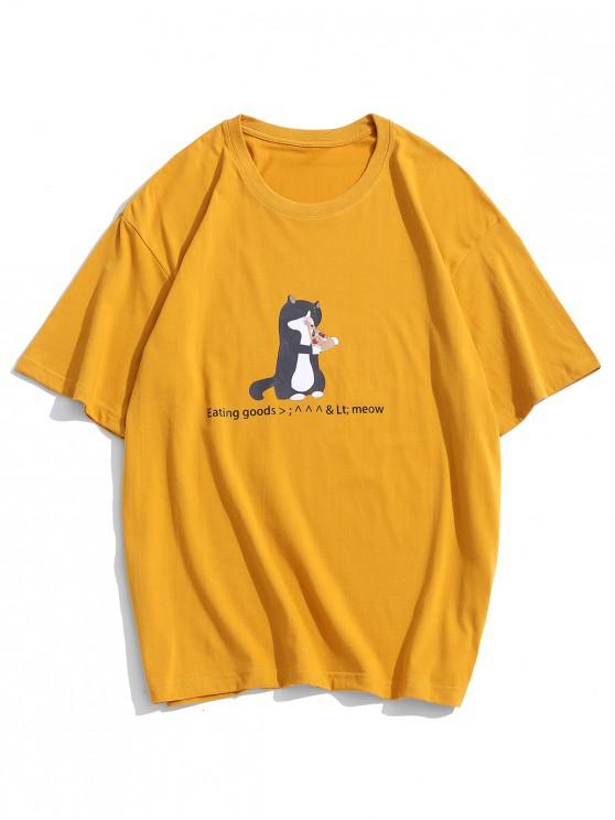 Cartoon Cat Print Cute T-shirt - الأصفر 3XL