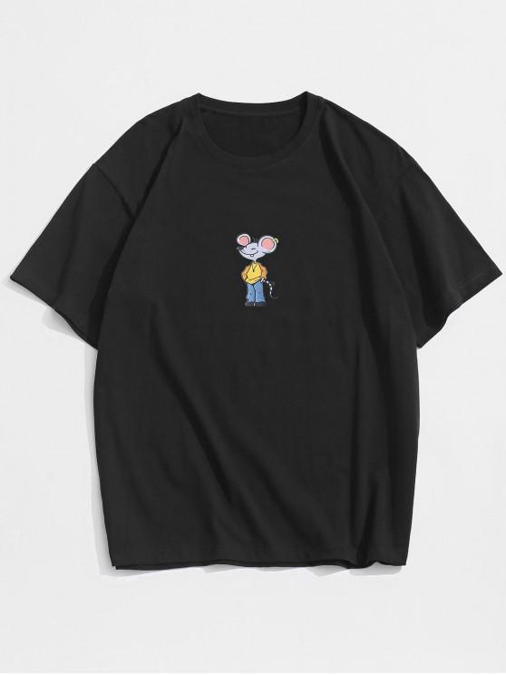 Maglietta a Maniche Corte con Stampa a Mouse Dei Cartoni Animati - Nero 2XL
