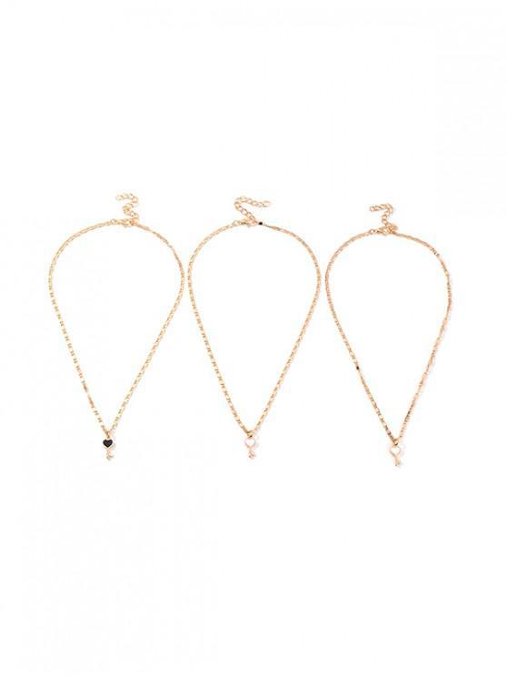 3pcs Conjunto de Collar con Llave de Corazón - Oro