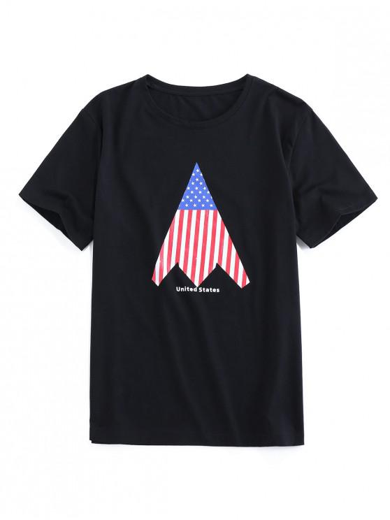 womens ZAFUL American Flag Print Round Neck T-shirt - BLACK S
