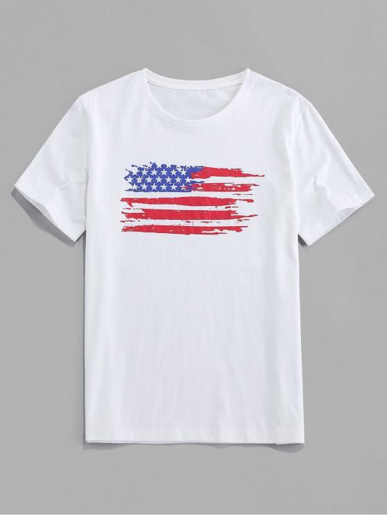 ZAFUL Camiseta Casual con Estampado de Bandera de Estados Unidos - Blanco L